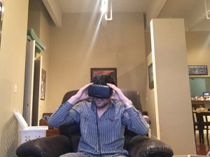 Justin Knag immersed in the Virtual Reality world